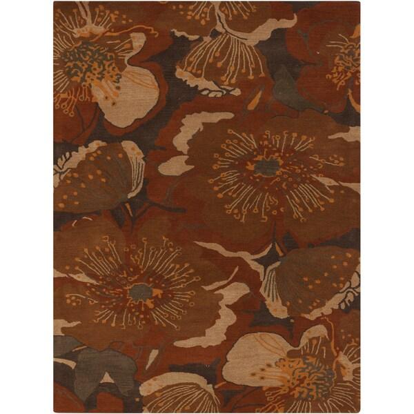 Hand-tufted Millings Brown Floral Wool Area Rug (5' x 8')