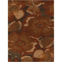 Hand-tufted Millings Brown Floral Wool Area Rug (8' x 11')