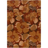 Hand-tufted Millings Brown Floral Wool Area Rug - 8' X 11'