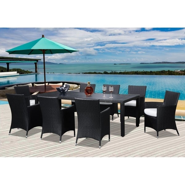 9 Piece Outdoor Brown Wicker Dining Set With Chairs Chio 8
