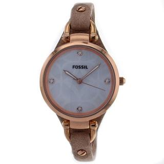 Fossil Women's ES3151 Georgia Three Hand Golden Brown Leather Skinny Strap Watch