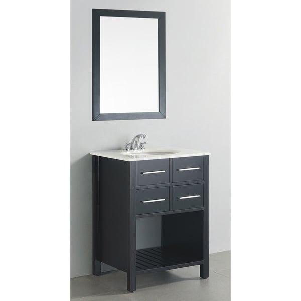 WYNDENHALL Manhattan Marble Top 24-inch Black Bath Vanity