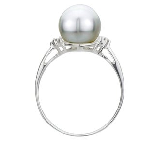 DaVonna Sterling Silver 8-9 mm Round Pearl and 1/10ct TDW Diamond Ring (L-M, I1-I2) (More options available)