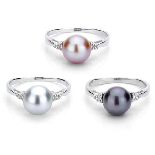 DaVonna Sterling Silver 8-9 mm Round Pearl and 1/10ct TDW Diamond Ring (L-M, I1-I2)