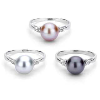 DaVonna Sterling Silver 8-9 mm Round Pearl and 1/10ct TDW Diamond Ring (L-M, I1-I2) https://ak1.ostkcdn.com/images/products/7722351/P15125313.jpg?impolicy=medium