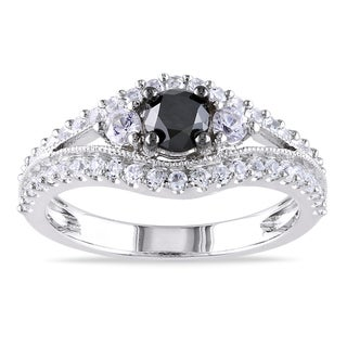 Miadora Sterling Silver 1ct TDW Black Diamond and White Sapphire Ring