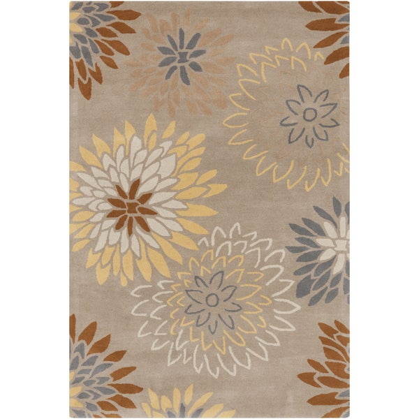 Hand-tufted Missoula Beige Floral Wool Rug (6' x 9')
