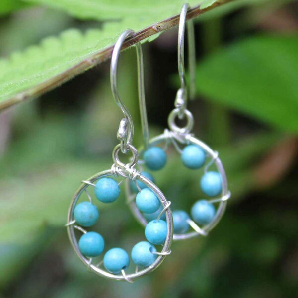 Handcrafted Turquoise Inner Circle Earrings (Indonesia)