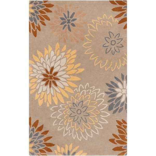 "Hand-tufted Missoula Beige Floral Wool Area Rug - 7'6"" x 9'6"""