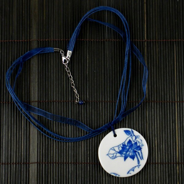 Handcrafted Asian Porcelain Round Pendant (China)