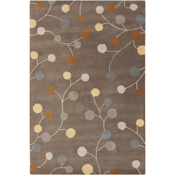 Hand-tufted Choteau Brown Floral Wool Area Rug (10' x 14')