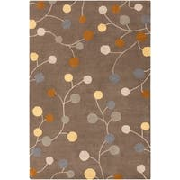 Hand-tufted Choteau Brown Floral Wool Area Rug - 10' x 14'