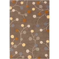 Hand-tufted Choteau Brown Floral Wool Area Rug - 12' x 15'