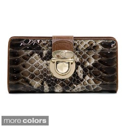 Anais Gvani Trendy Gold Buckled Snakeskin Genuine Leather Bi-fold Wallet