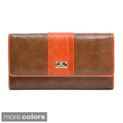 Anais Gvani Classic Genuine Leather Tri-fold Wallet