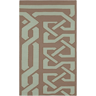Hand-woven Admes Flatweave Reversible Taupe Wool Rug (5' x 8')