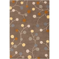 Hand-tufted Choteau Brown Floral Wool Area Rug - 6' x 9'