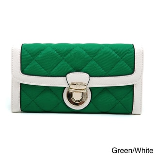 Anais Gvani Classic Quilted Two-Tone Buckle Accent Tri-fold Wallet