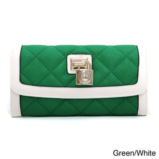 Anais Gvani Classic Quilted Lock Accent Two-Tone Tri-fold Wallet