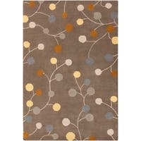 Hand-tufted Choteau Brown Floral Wool Area Rug - 7'6 x 9'6