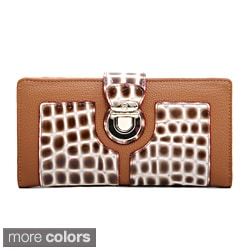 Anais Gvani Croco Embossed Buckle Accent Bi-fold Checkbook Wallet