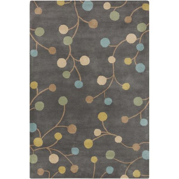 Hand-tufted Eureka Grey Floral Wool Rug (12' x 15')