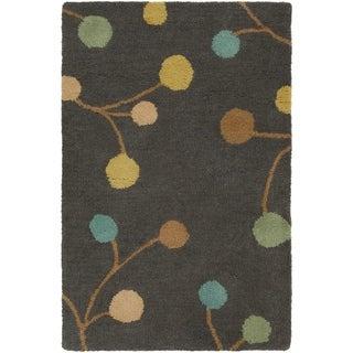 Hand-tufted Eureka Grey Floral Wool Area Rug - 2' x 3'
