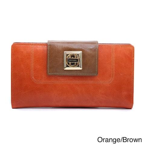 Anais Gvani Two-toned Twist Lock Closure Genuine Leather Checkbook Wallet