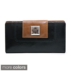 Anais Gvani Two-toned Twist Lock Closure Genuine Leather Checkbook Wallet