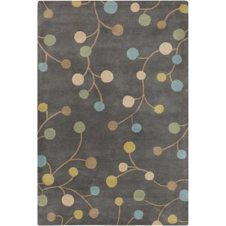 Hand-tufted Eureka Grey Floral Wool Rug (5' x 8')