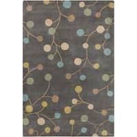 Hand-tufted Eureka Grey Floral Wool Area Rug (5' x 8')
