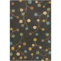 Hand-tufted Eureka Grey Floral Wool Area Rug - 6' x 9'
