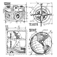 Tim Holtz Cling Rubber Stamp Set-Travel Blueprint