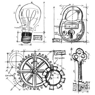 Tim Holtz Cling Rubber Stamp Set-Industrial Blueprint