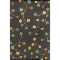 Hand-tufted Eureka Grey Floral Wool Area Rug - 7'6 x 9'6
