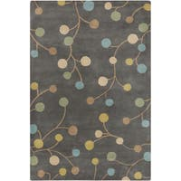 Hand-tufted Eureka Grey Floral Wool Area Rug - 8' x 11'