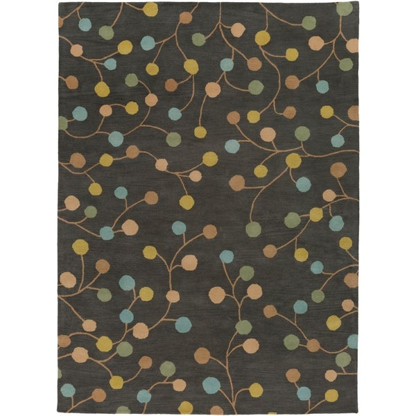 Hand-tufted Eureka Grey Floral Wool Area Rug - 8' X 11'