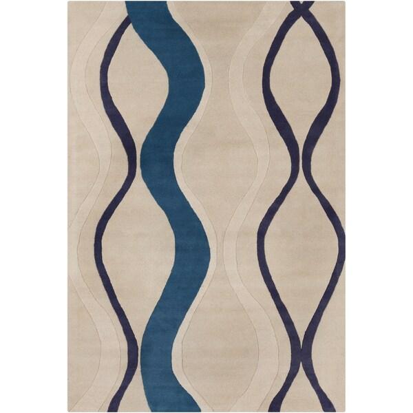 Allie Handmade Blue/Beige Abstract Wool Rug - 5' x 7'6