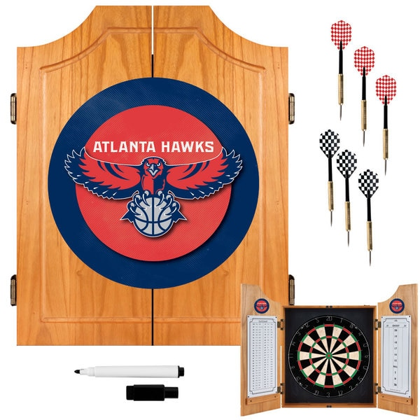 Officially Licensed NBA Atlanta Hawks Wood Dart Cabinet Set