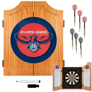 Officially Licensed NBA Atlanta Hawks Wood Dart Cabinet Set