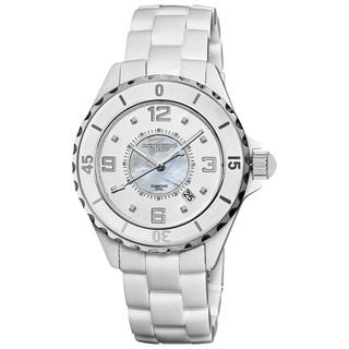 Akribos XXIV Women's Midsize Ceramic Quartz Date Diamond Watch