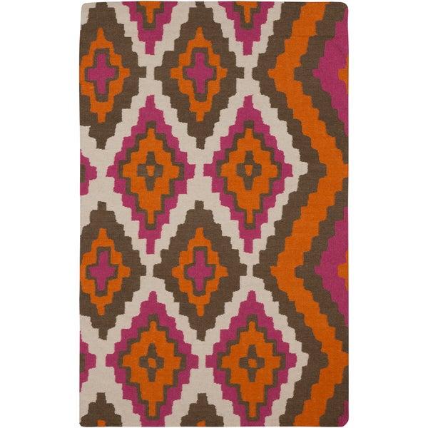 Hand-woven Adel Flatweave Reversible Pumpkin Wool Rug (8' x 11')