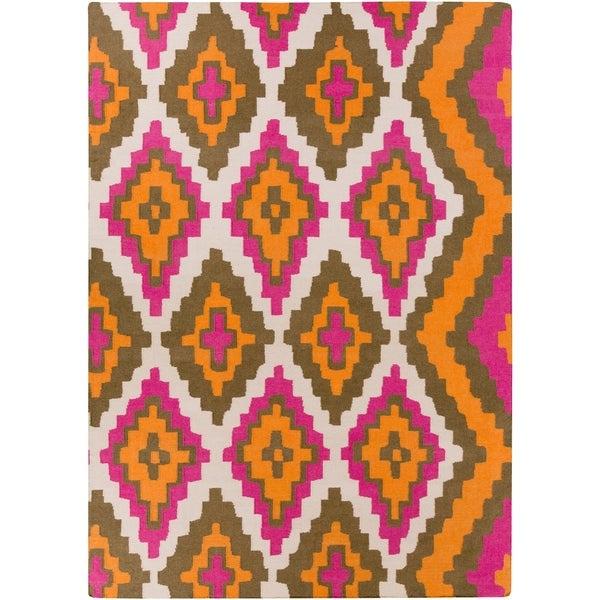 Hand-woven Adel Flatweave Reversible Pumpkin Wool Area Rug - 8' x 11'