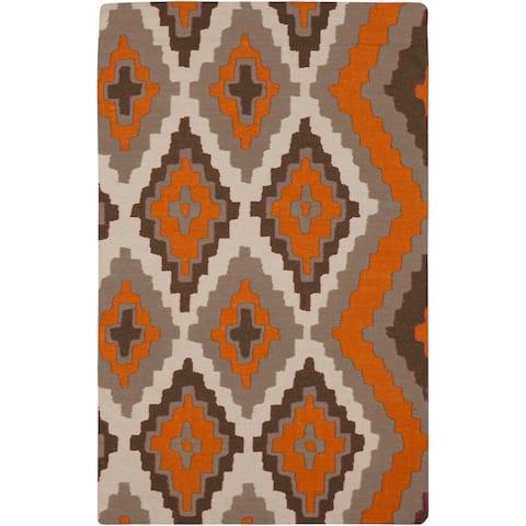 Hand-woven Adelard Flatweave Reversible Pumpkin Wool Area Rug (2' x 3') - 2' x 3'
