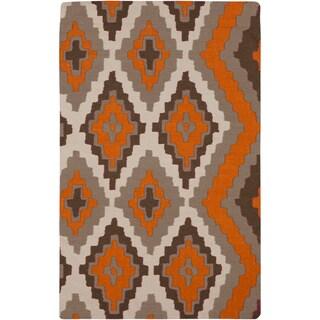 Hand-woven Adelard Flatweave Reversible Pumpkin Wool Rug (8' x 11')