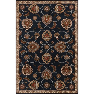 Hand-tufted Ebba Traditional Blue Oriental Wool Rug (5' x 8')