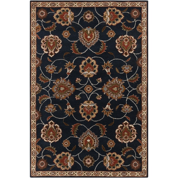 Hand-tufted Ebba Traditional Blue Oriental Wool Area Rug - 5' x 8'