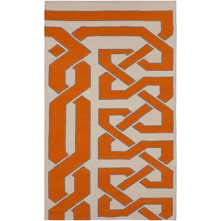 Hand-woven Adelino Reversible Pumpkin Wool Rug (8' x 11')