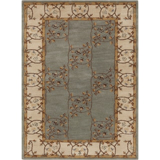 Hand-tufted Clady Casual Grey Border Wool Rug (7'6 x 9'6)