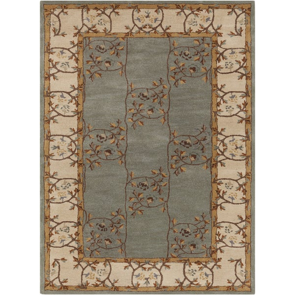 "Hand-tufted Clady Casual Grey Border Wool Area Rug - 7'6"" x 9'6"""